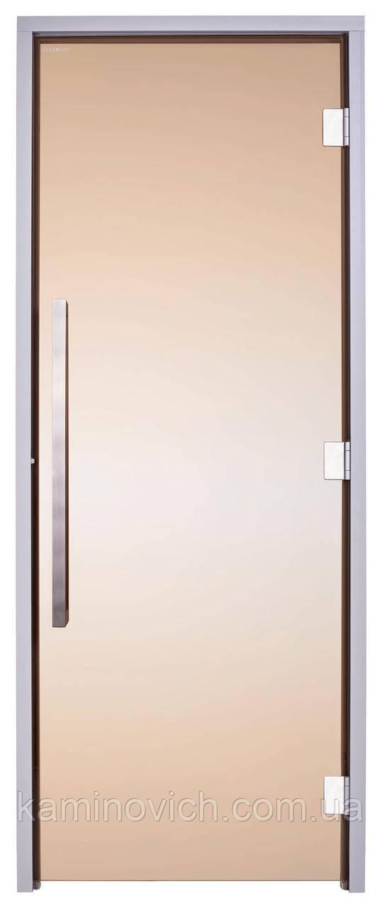 Стеклянная дверь для хамама GREUS Exclusive 80/200 бронза 3 петли