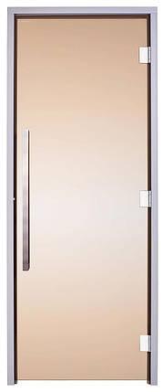 Стеклянная дверь для хамама GREUS Exclusive 80/200 бронза 3 петли, фото 2