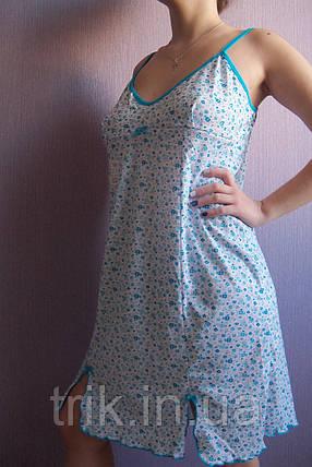 """Женская ночная сорочка  на бретельках """"Милая"""" расцветка  голубые цветочки, фото 2"""
