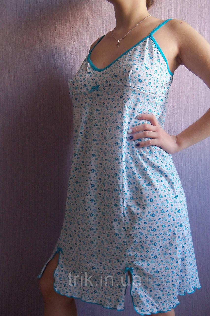 """Женская ночная сорочка  на бретельках """"Милая"""" расцветка  голубые цветочки"""