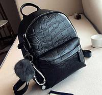 Стильный женский рюкзак с меховым брелком Большой, Черный