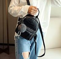 Стильный женский рюкзак с меховым брелком Мини, Черный