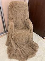 Плед покрывало на кровать меховое Травка Мишка Страус Пушистик 200х220(евро). на подарок