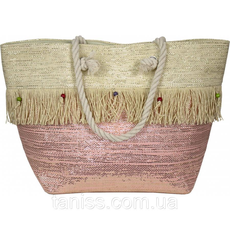 Сумка жіноча, об'ємна , пляжна, 2 ручки, тканина соломка з люрексом (VT8198532) 2 кольори, рожевий