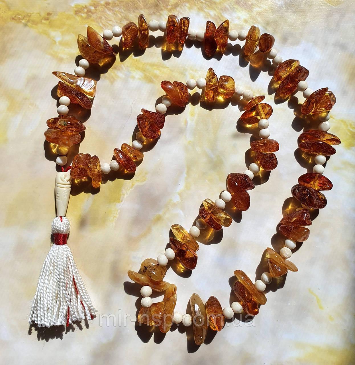 Мала четки 108 бусин 100% натуральный янтарь (не пресс не плавка) и слоновая кость вес 43г