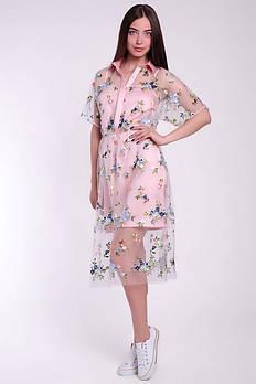 Коктейльное женское платье из сетки и щелка