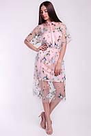 Коктейльное женское платье из сетки и щелка, фото 2
