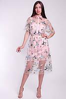 Коктейльное женское платье из сетки и щелка, фото 3