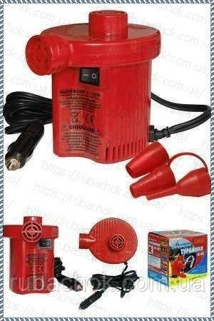 Электрический насос компрессор для надувной лодки матраса от прикуривателя 12V воздушная Турбинка  АС 401