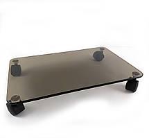 Стеклянная подставка 440х280 мм для цветов напольная на колесиках COMMUS ULTRAP b8 - коричневая (Бронза,