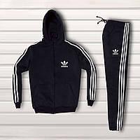 Мужской спортивный костюм Adidas. Черный с белыми лампасами Спортивный костюм Адидас. Бесплатная доставка.