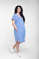 Платье летнее коттоновое свободное до середины колен в бело-синюю полоску