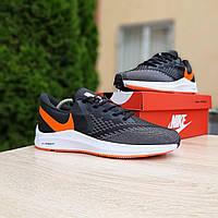 Кроссовки мужские в стиле  Nike Zoom WINFLC 6 чёрные с оранжевым на белой, фото 1