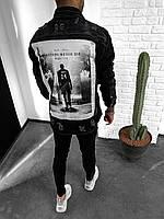 Джинсовый мужской пиджак черный с принтом на спине