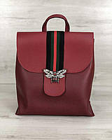 Красный женский рюкзак 44722 с клапаном молодежный городской, фото 1