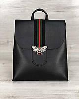 Чорний міський жіночий рюкзак молодіжний з брошкою, фото 1