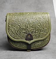 """Кожаная женская сумка, оливковая сумка через плечо """"Ягдташ"""""""