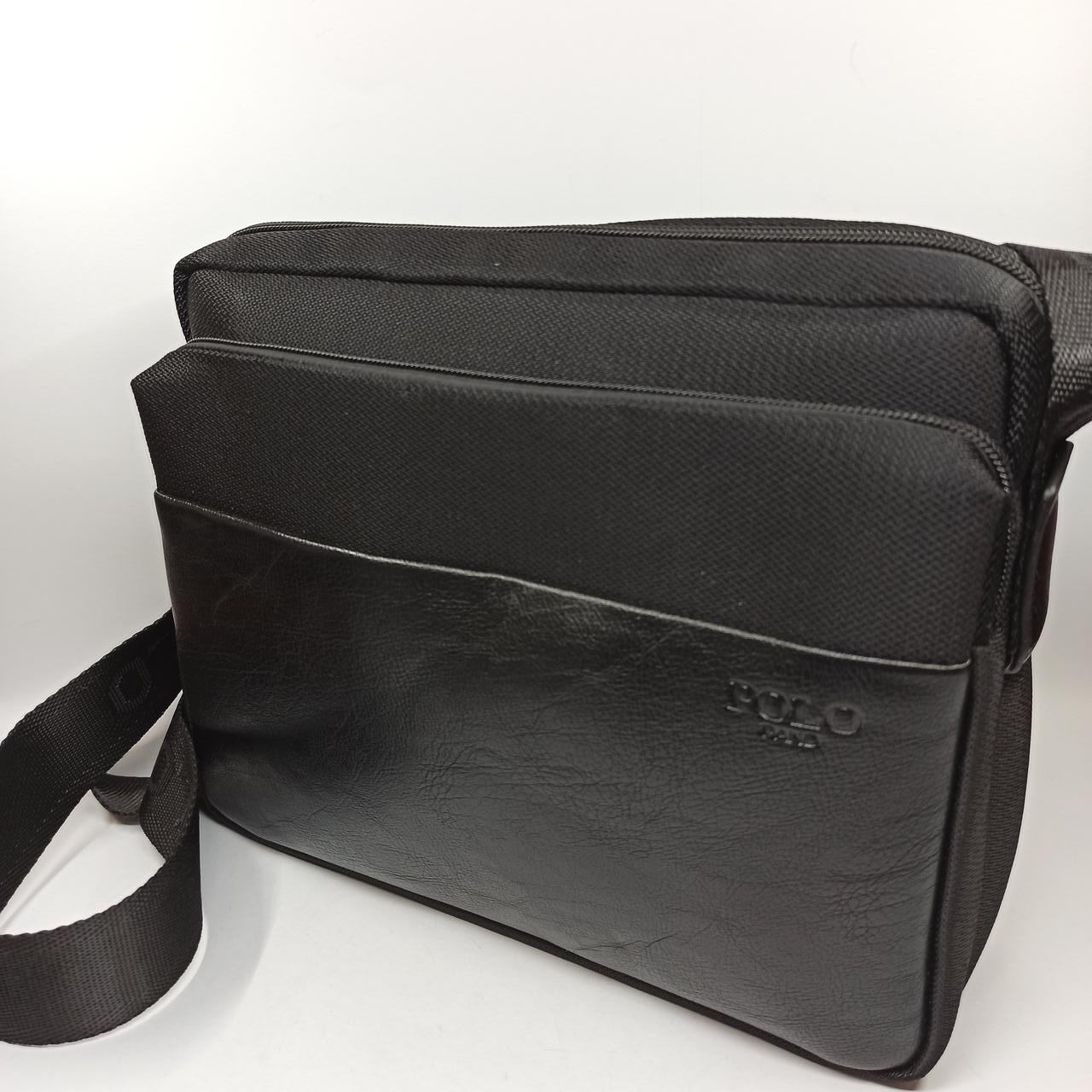 Мужская кожаная сумка планшет через плечо Polo B511-3