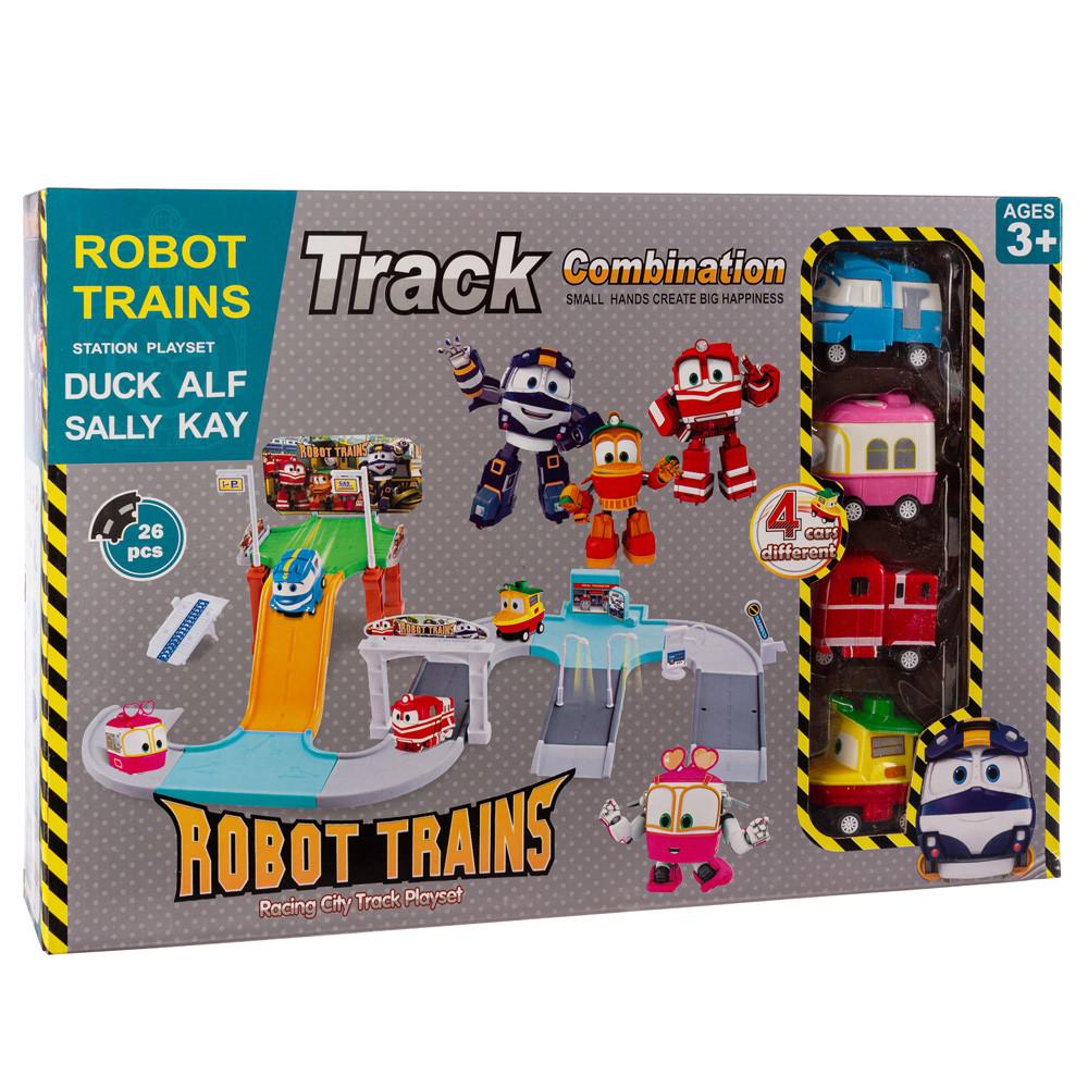 Игровой автотрек-гараж Robot Trains (Роботы Кей, Альф, Утенок и Селли)