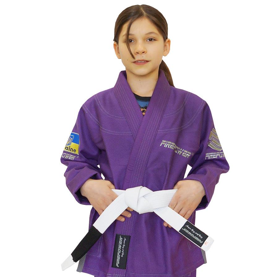 Детское кимоно для бразильского Джиу-Джитсу Firepower Ukraine Фиолетовое