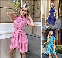 Р 42-48 Літнє плаття - сорочка з спідницею кльош 21562, фото 1