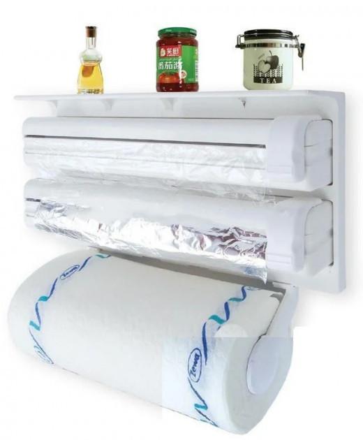 Кухонний диспенсер для плівки, фольги і рушників Kitchen Roll Triple Paper Dispenser - фото 1