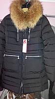 Парка черная женская зимняя с натуральным мехом