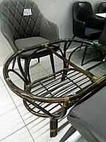 Журнальный овальный стол 0125 олива из натурального ротанга + стекло от King of Rotang