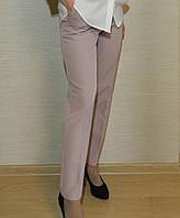 Однотонные классические женские брюки, розово-пудровый, нарядные, офисные, повседневные норма батал