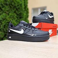 Кроссовки мужские в стиле  Nike Air Force 1 LV8  низкие черные (белая запятая), фото 1