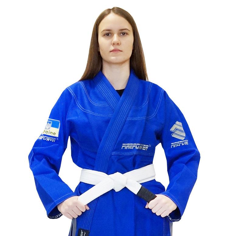 Женское кимоно для бразильского Джиу-Джитсу Firepower Ukraine Синее