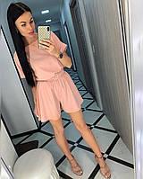 Женский летний костюм блуза+шорты 486 (42/46 универсал) (цвета: белый, пудра, серый, мокко) СП, фото 1