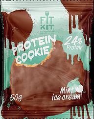 Протеиновое печенье в шоколадной глазури Fit Kit  Мятное Мороженое (50 грамм)