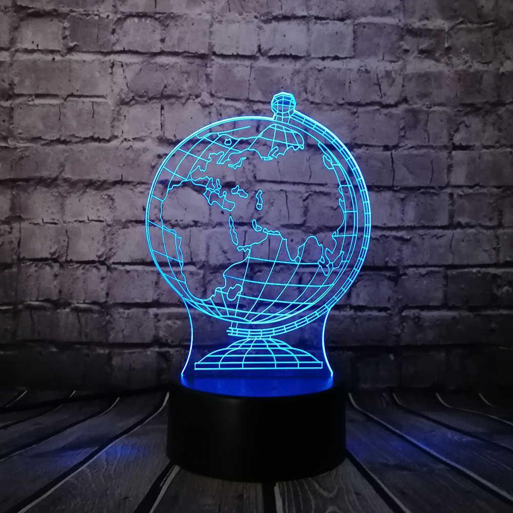 Необычный ночник светильник 3D Глобус декоративный цветная подсветка