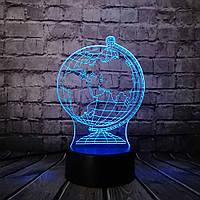 Необычный ночник светильник 3D Глобус декоративный цветная подсветка, фото 1