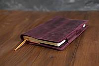 Обложка для ежедневника формата А5 Модель № 12 Винтажная кожа цвет Бордо