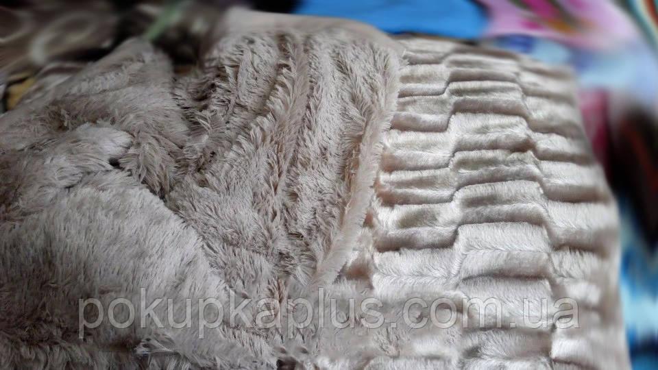 Меховое Покрывало плед травка Норка 200 х 230 Серый