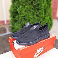 Мужские летние кроссовки Nike без шнурков (черные) 10165