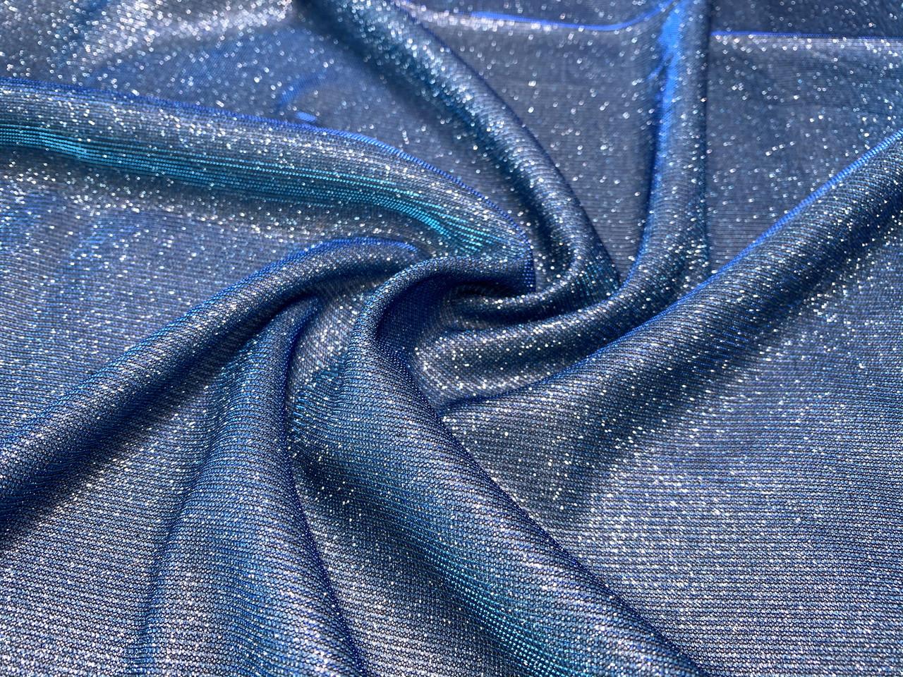 Трикотаж диско хамелеон, голубой с синим
