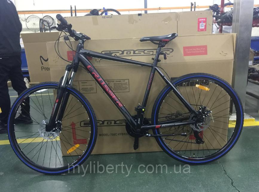 Гірський велосипед Crosser Hybrid 28 розмір рами 18, чорний