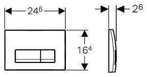 Кнопка змиву 115.105.46.1 GEBERIT Delta 51 двійний змив хром мат, фото 2