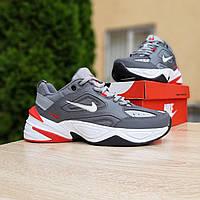 Мужские кроссовки в стиле Nike M2K Tekno серые с красным, фото 1