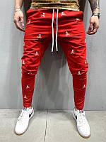Мужские спортивные штаны с черепами (красные) - Турция 5195