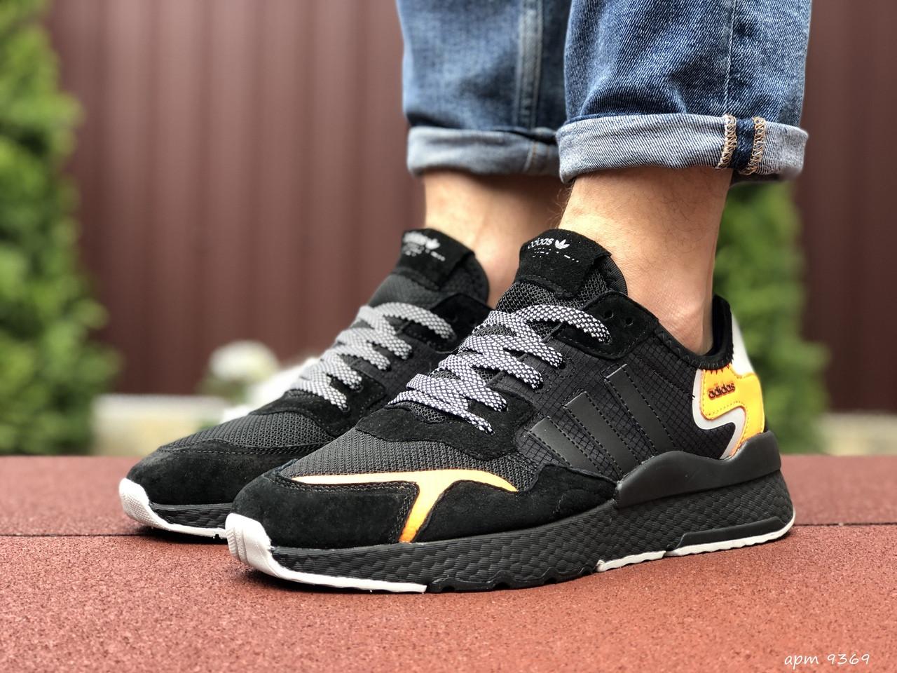 Мужские кроссовки Adidas Nite Jogger (черно-оранжевые) 9369