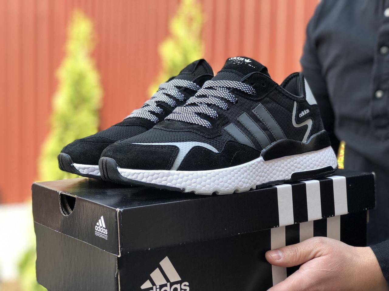 Мужские кроссовки Adidas Nite Jogger (черно-белые) 9371