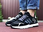 Мужские кроссовки Adidas Nite Jogger (черно-белые) 9371, фото 4