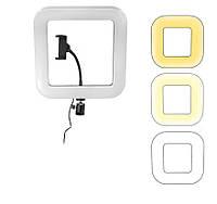 Квадратная Светодиодная LED селфи лампа D21 18см с держателем для телефона
