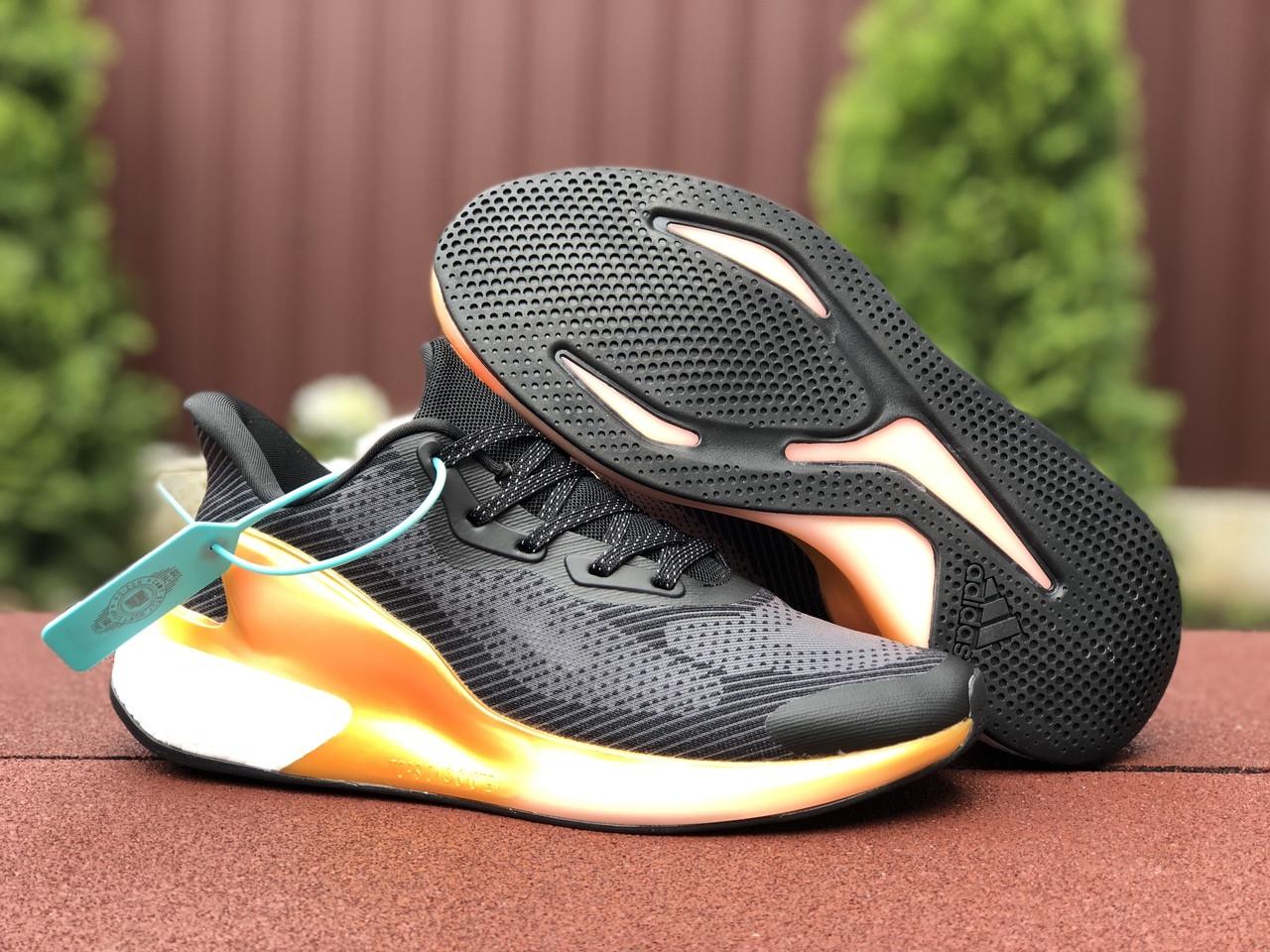 Мужские кроссовки Adidas Alphaboost (черно-оранжевые) 9376