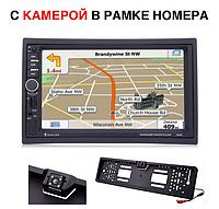 2 din 7020G GPS + камера в рамке номера Два дин магнитола 7 дюймов