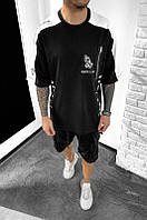 Мужская удлиненная футболка Black Island (бело-черная) - Турция ada1122-2631